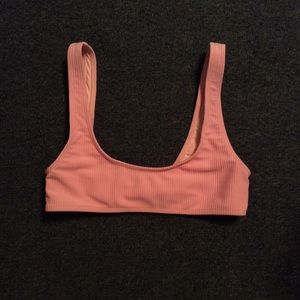 Tularosa Pink Ribbed Swim Top Only XS